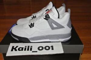 super popular 29572 8405b Image is loading Nike-Air-Jordan-4-IV-Retro-GS-White-
