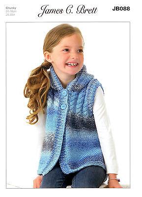 Girls Hooded Top JB088 Knitting Pattern James C Bett Marble Chunky