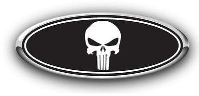 Ford F150 2015-2017 W/Cam Overlay Emblem Decal Punisher Black/White 3PC Kit!