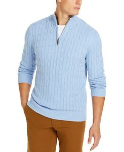 Club-Room-Mens-Sweater-Yonder-Blue-Size-Large-L-1-2-Zip-Cable-Knit-65-329