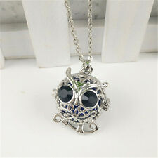 Silver Owl Locket Necklace Fragrance Essential Oil Aromatherapy Diffuser Pendant