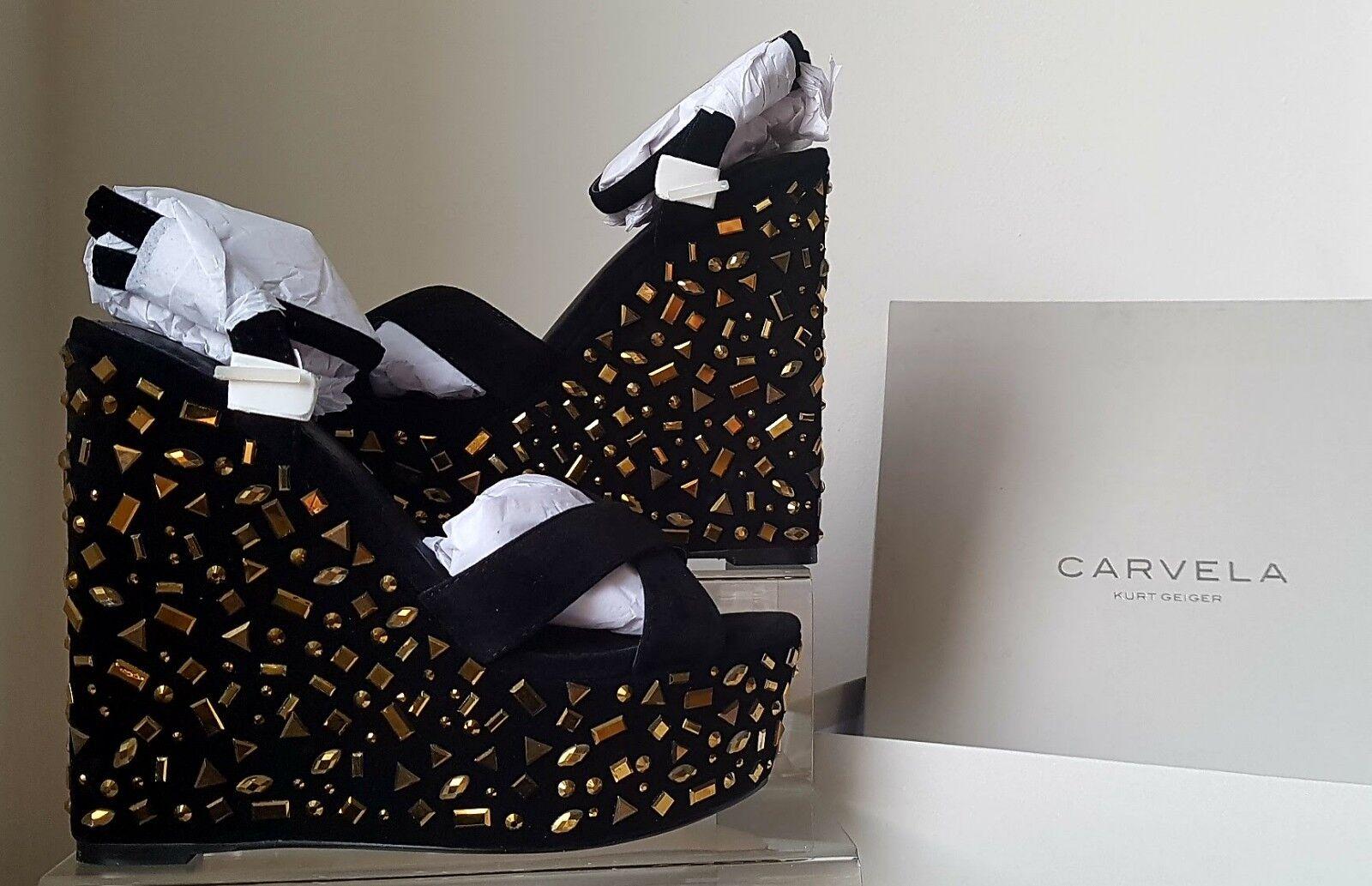 Carvella Black Suede Gold Embellished Wedges.EX HARRODS STOCK. Sz 6. £175