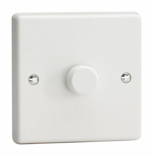 Varilight JQP601W en plastique blanc 1 Gang 2-Way Push-On//Off DEL Dimmer 0-300 W V-pro