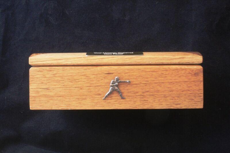 Boxer Oak Jewellery Box 6x4 Photo Insert Personalised Engraving Boxing Gift 043