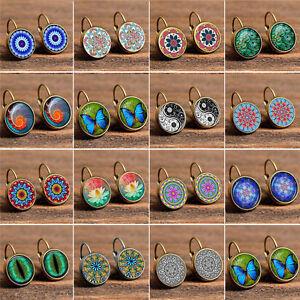 Vintage-Retro-Women-Glass-Round-Flower-Ear-Stud-Fashion-Bronze-Earrings-Jewelry