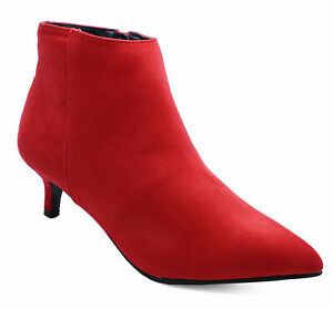 e151eb6ad5e Details about WOMENS RED ZIP-UP KITTEN HEEL SUEDETTE WIDE FIT ANKLE BOOTS  SHOES SIZES 3-9