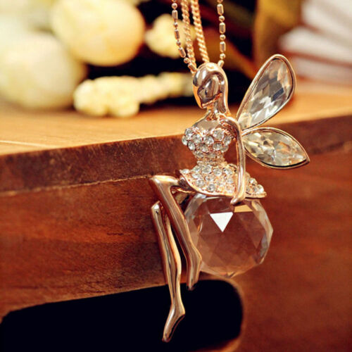 Fashion Women Crystal Fairy Angel Wing Long Chain Sweater Pendant Necklace New