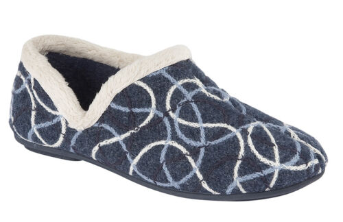 Sleepers Womens//Ladies Swirls Knitted Textile Full Slippers Style Karen  Various