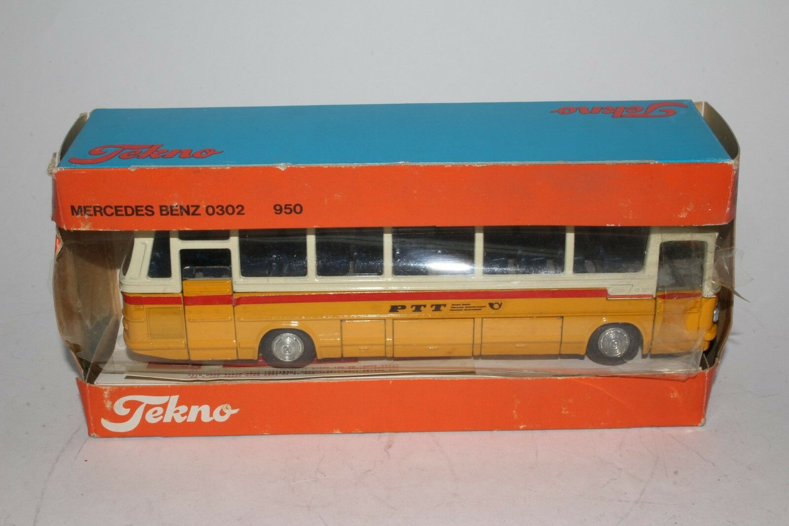 Tekno Juguetes, Mercedes Swiss Post Bus con Caja, agradable Original