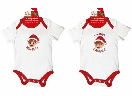 Christmas Baby Grow Suit with /'Elfie Baby/' /'Santa/'s Baby ELF/' /& Baby Bibs
