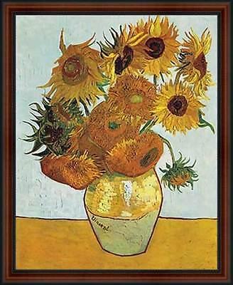 Vase with Twelve Sunflowers by Vincent van Gogh. Fine Art Poster. Walnut Frame