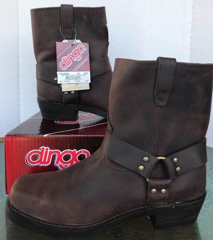 Dingo Gaucho Boots 13 Western Motorcycle shoes DI19094 Strap Brown Leather