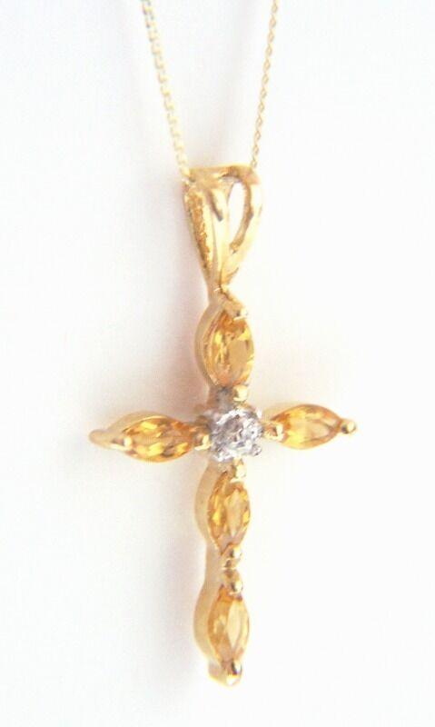 9ct gold MARQUISE CUT CITRINE DIAMOND SET CROSS PENDANT Chain Mums B'Day GIFT BN