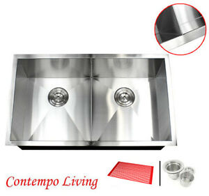 Groovy Details About 32 Undermount Zero Radius Double Bowl Stainless Steel Kitchen Sink Slim Divider Home Interior And Landscaping Eliaenasavecom