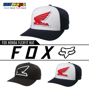 Details About Fox Racing Men S Honda Flexfit Hats Fitted Curved Bill Moto Caps Adult 2 Sizes