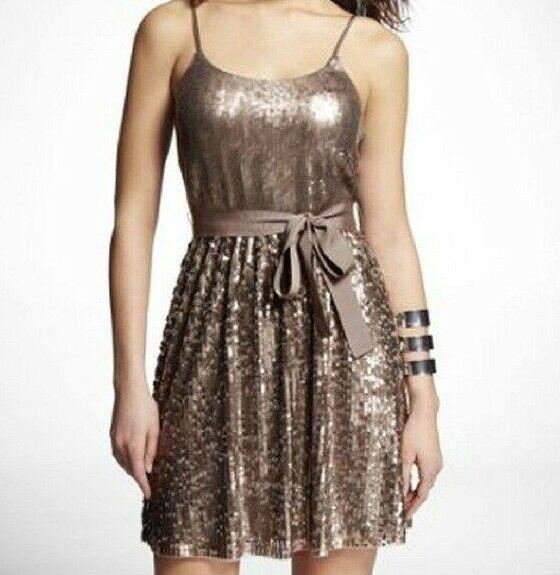 EXPRESS Bronze gold Sequin Party Dress M