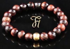 Tigerauge-925er-sterling-Silber-vergoldet-Armband-Bracelet-Perlenarmband-rot-8mm