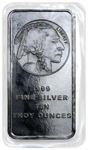 10-oz-Silver-Bar-American-Indian-Buffalo-Design-SKU28953