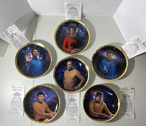Star Trek original hamilton collection gold trimed plates Set Of 6 Rare W/Certs