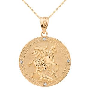 10-Quilates-Oro-Amarillo-Macizo-st-George-Gravable-Diamante-Medallon-Lg