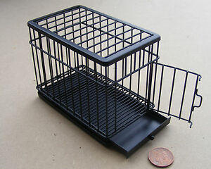 1-12-Scale-Pet-Accessory-Large-Black-Metal-Dog-Animal-Cage-Dolls-House-Miniature