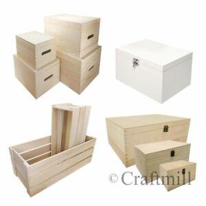 Plain Wood En Bois Jouet Rangement, Panier, Veille De Noël Boîtes-choisir Taille & Style-afficher Le Titre D'origine