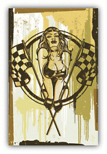 "Racing Pinup Girl Retro Vintage Car Bumper Sticker Decal 4"" x 5"""