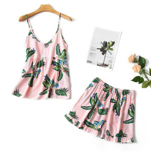 Women-039-s-Print-Top-and-Shorts-Pajama-Set-Cotton-Summer-Loose-Soft-Sleepwear-Plus