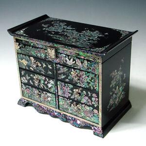 bo te bijoux coffre 6tiroirs miroir rangement bague. Black Bedroom Furniture Sets. Home Design Ideas
