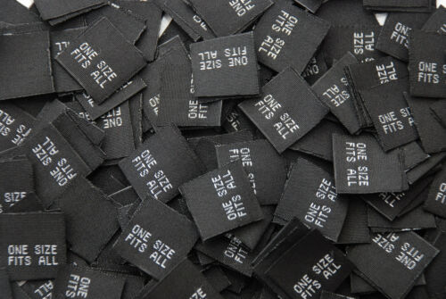 -USA SHIPPER 1000PCS /'ONE SIZE FITS ALL/'  WOVEN LABEL TAGS BLK//WHT or WHIT//BLK