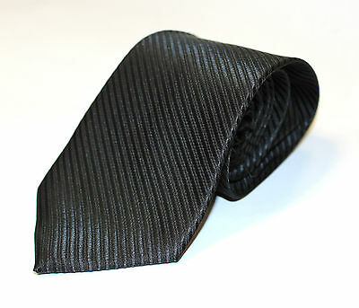 Mens Jacquard Silk Satin Tie Black Blue Navy Stripe Plain Color Necktie