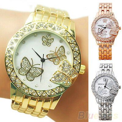 Women Geneva Elegant Butterfly Rhinestone Inlaid Alloy Quartz Analog Wrist Watch