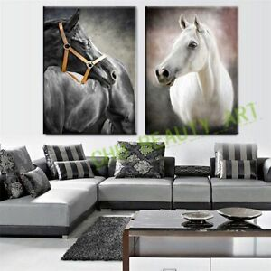 LMOP54-wall-decor-art-100-hand-paint-Black-White-Horse-oil-painting-on-canvas