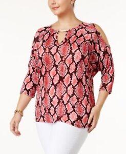 85b33e3f5b0aa2 Michael Kors Women s Top Snake Print Cold-Shoulder Blouse Plus Size ...