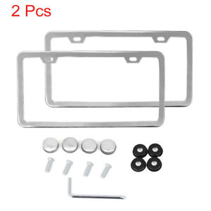 Image Is Loading 2pcs Stainless Steel License Plate Frame W