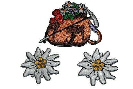3 er Set Rucksack Bügelbild Aufnäher Applikation Patch Blume Blüte Edelweiß