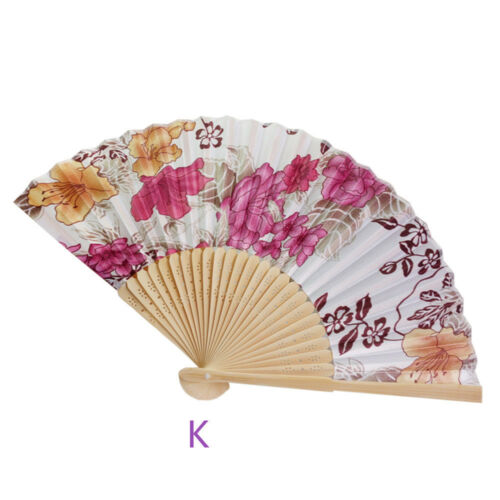 Vintage Bamboo Folding Hand Held Flower Fan Chinese Dance Party Pocket Beautyf