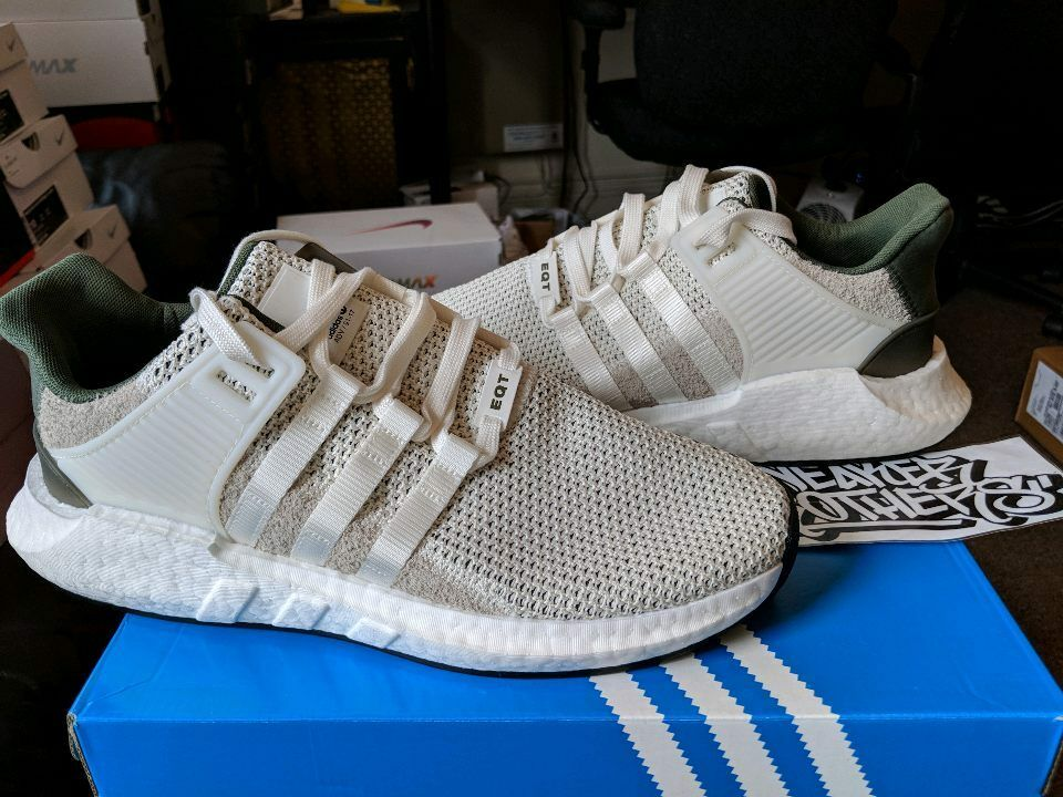 Adidas Equipment EQT Support Boost 93-17 Off White Olive Green BY9510 Primeknit