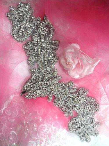 "Black Backing Applique Crystal Rhinestone Silver Beaded Dance Patch 13/"" XR157"