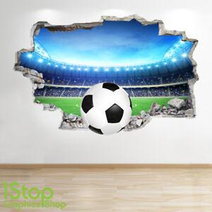 Applique Afficher Chambre Murale Enfants 3d Look Garçons Football Sur Titre Détails Coucher Z667 D'origine Autocollant Mural À Stadium Le 80vmONnwy