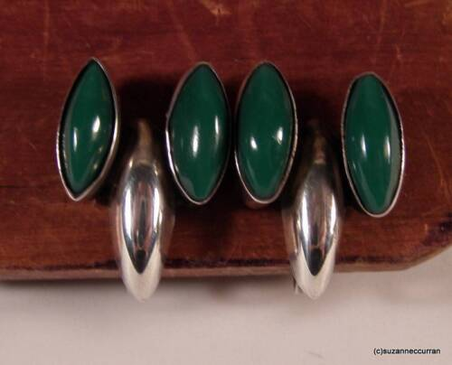 Early 30's 40's Mexican Silver Green Onyx Screwbac