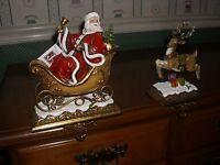 Set of 2 Joseph's Studio Santa Claus and Reindeer Christmas Stocking Holders Home Furnishings