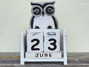 Owl Calendar Wooden Handmade Perpetual.....