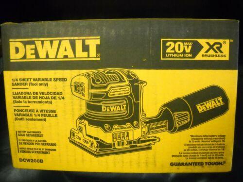 DEWALT DCW200B 20 Volt 1//4 Sheet Sander Cordless Brushless Variable Speed NEW