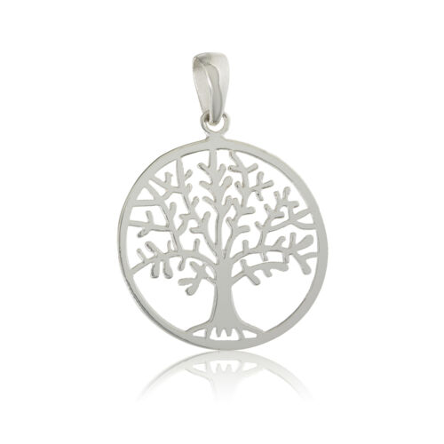 STERLING SILVER TREE OF LIFE ROUND CHARM PENDANT INGOT DOG TAGS CHAIN GIFT BOX