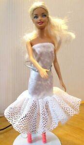 Barbie-doll-Platinum-hair-white-dress-frilled-hem-pink-shoes-amp-free-pink-dress
