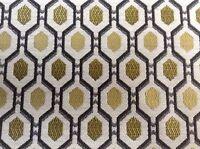 Jackson Batik  Octagan Grey/ Gold Jacquard Curtain/Upholstery/Craft Fabric