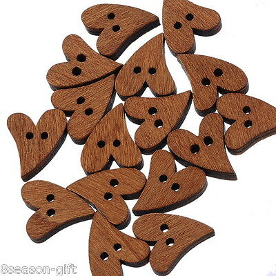 100pcs 2 Holes Wooden Heart Buttons Fit Sewing and Scrapbook 19x17mm