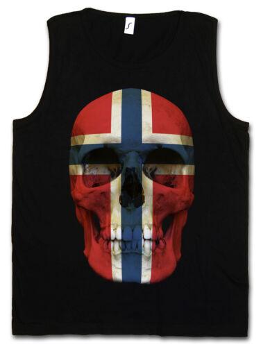 CLASSIC NORWAY SKULL FLAG TANK TOP GYM Totenkopf Schädel Banner Fahne Norwegen