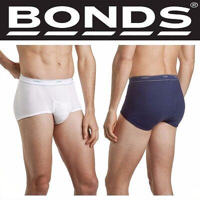 MENS NAVY WHITE BONDS COTTON SUPPORT BRIEF UNDERWEAR UNDIES S M L XL 2XL 3XL 4XL